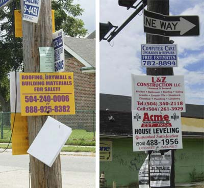 contractor signs on poles and trees in New Orleans