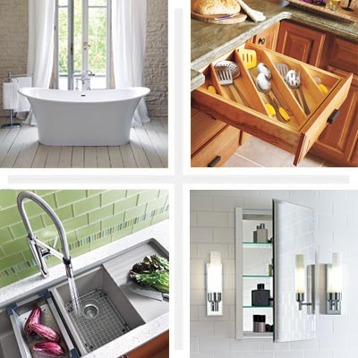 Kitchen faucet, bathroom cabinet, cutlery drawer and tub featured in gallery