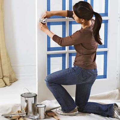 wrap doors, knobs and pulls in aluminum foil for quick protection while painting
