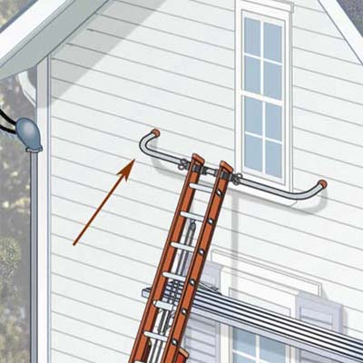 use a ladder stabilizer around windows for greater stability