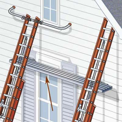 use only aluminum scaffolding planks meant for ladder jacks or 2x12 wood planks no more than 8 feet long