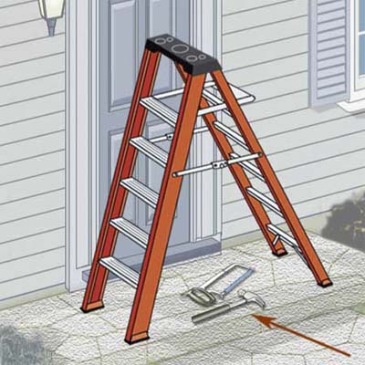 remove all tools and materials from the ladder when it's not in use