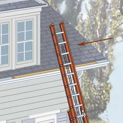 extend ladder 3 feet above any surface that you're climbing onto