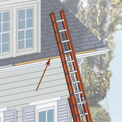 slip a 2x4 into a gutter to keep it from being crushed by the ladder