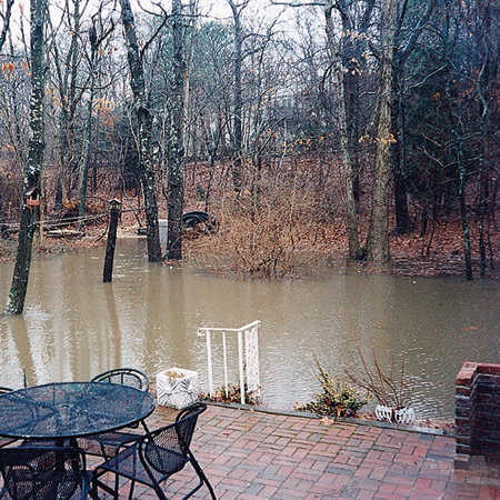 flooded back yard before photo