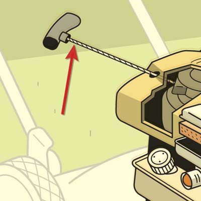 illustration of lawnmower, highlighting the starter cord
