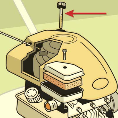 illustration of lawnmower, highlighting the oil cap and dipstick
