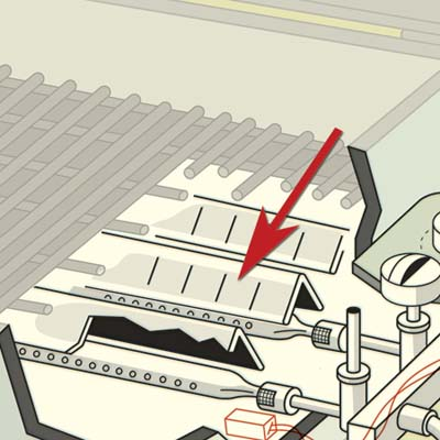 illustration of grill parts highlighting burner protector