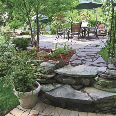 after photo of a back yard in Leonia, NJ with a bluestone walkway
