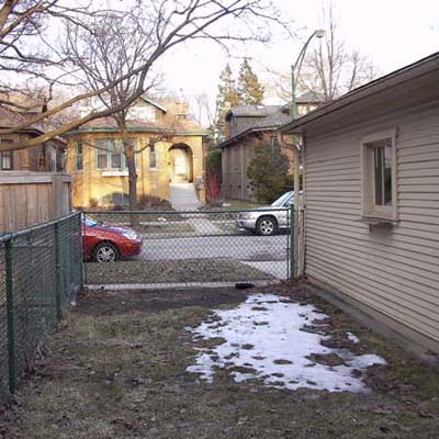 before photo of a very small back yard in Chicago, IL