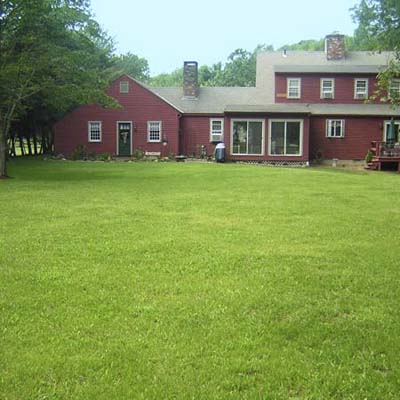 after photo of a back yard in Old Saybrook, CT with a wide expanse of lush, green lawn
