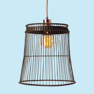 final of pendant light, how to make a wire pendant out of a vintage wastebasket