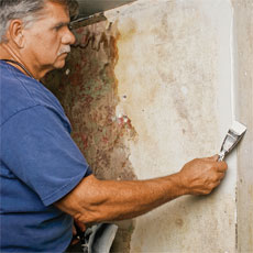 Tom Silva repairs a plaster wall