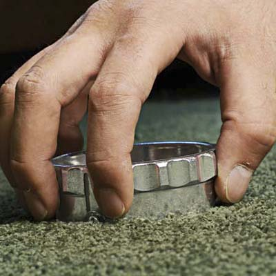 placing the cutter on the carpet
