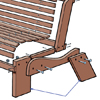 close up on bench legs