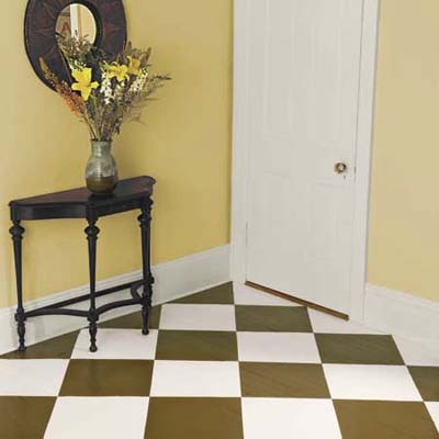 the finished checkerboard-painted wood floor