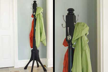 a finished coat rack in a hallway
