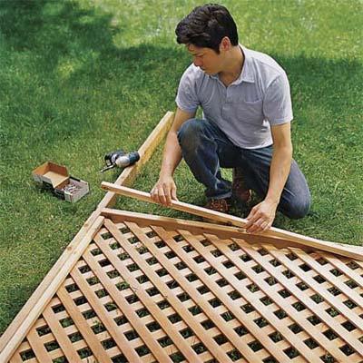 attach lattice to frame