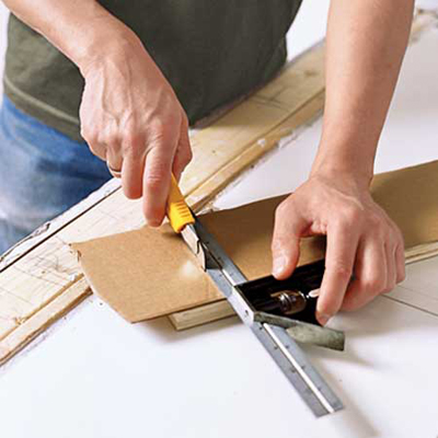 make a cardboard template to ensure fit and placement of your butcher-block countertop