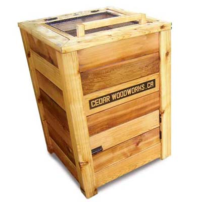 a luxury model compost bin from Cedar Woodworks