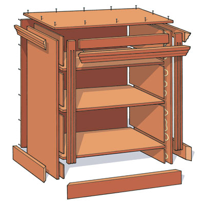 illustration detailing the cut parts necessary to build a small bookcase