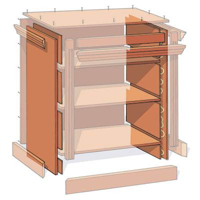 illustration detailing how to build the sides when building a small bookcase