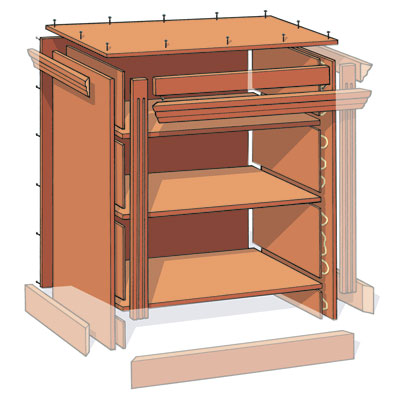 illustration detailing how to assemble the sides, shelves, back, and top when building a small bookcase