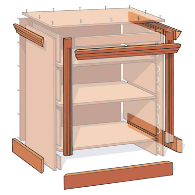illustration detailing how to attach the moldings and trim when building a small bookcase