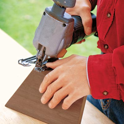 cutting a bevel in the battens with a jigsaw