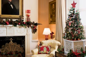 a x-mas tree in the Blair House in Washington, DC with a homemade x-mas tree box stand