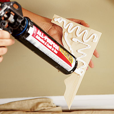 apply adhesive caulk