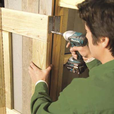 Install The Front Doors How To Build A Trash Shed This