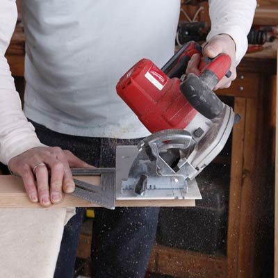 cutting the bevels with a circular saw