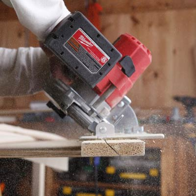 cutting the cleat with a circular saw