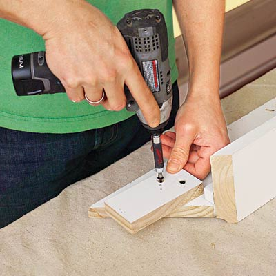 attaching a connecting block to the fascia for three-piece crown molding