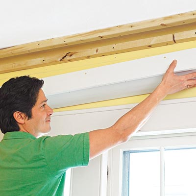 putting up half beams for three-piece crown molding