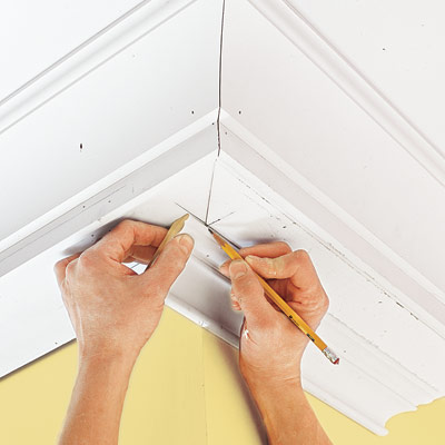 marking a molding for an outside corner for three-piece crown molding