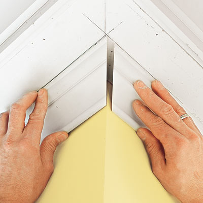 installing outside corner moldings for three-piece crown molding