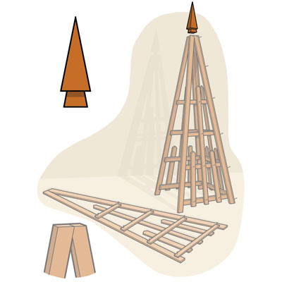 make the finial to build a pyramid trellis