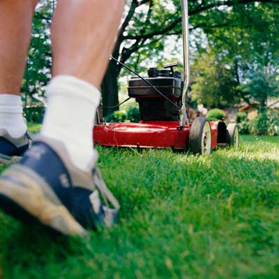 mowing a lawn with a push mower