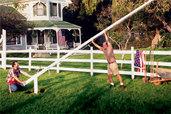 t o h master carpenter norm abram raising an in-ground flagpole