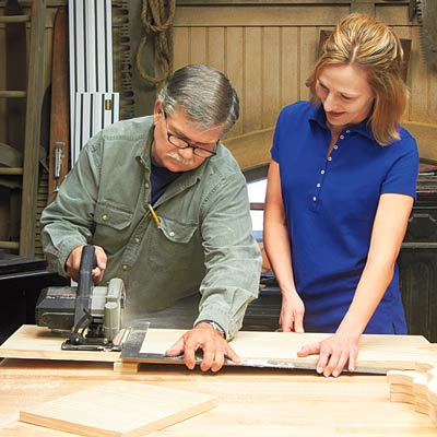 tom silva and reader cutting base and back of brackets for magazine file