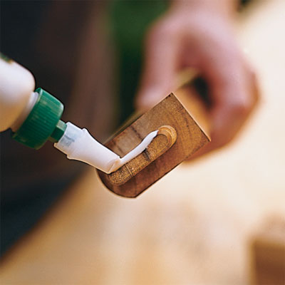 apply glue to the end of a tenon to build your own porch swing