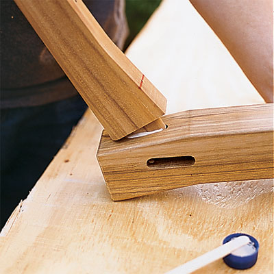 slide the tenon into the mortis to build your own porch swing