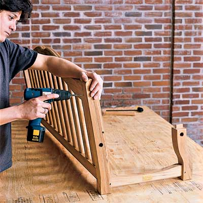 assembling the sides to build your own porch swing