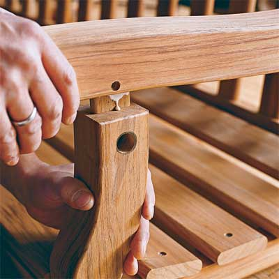 assembling the arm rest to build your own porch swing