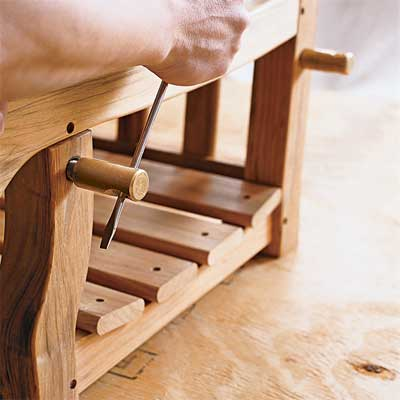 attach bolts and fill holes to build your own porch swing