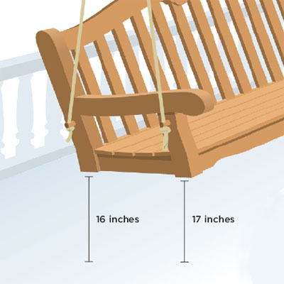 choosing the right height  to hang your own porch swing