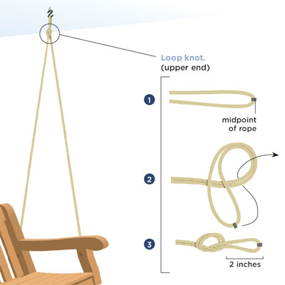 tie the right upper knot to hang your own porch swing