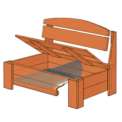Illustration and parts of this wooden porch storage bench